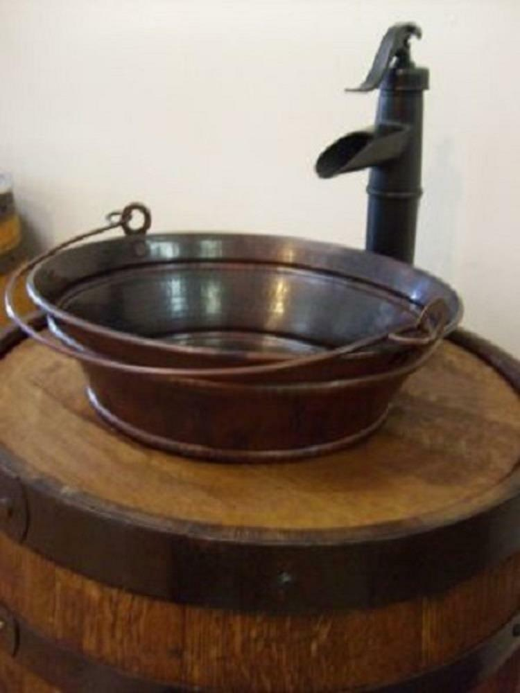 15 round copper bucket vessel vanity sink your choice of for How to make a vessel sink
