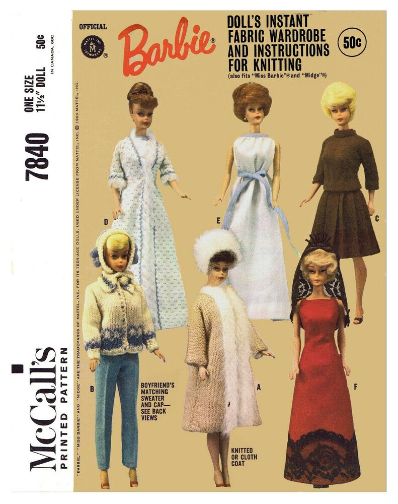 Vintage McCall\'s Barbie Doll Clothes Fabric Sewing Knitting Pattern ...