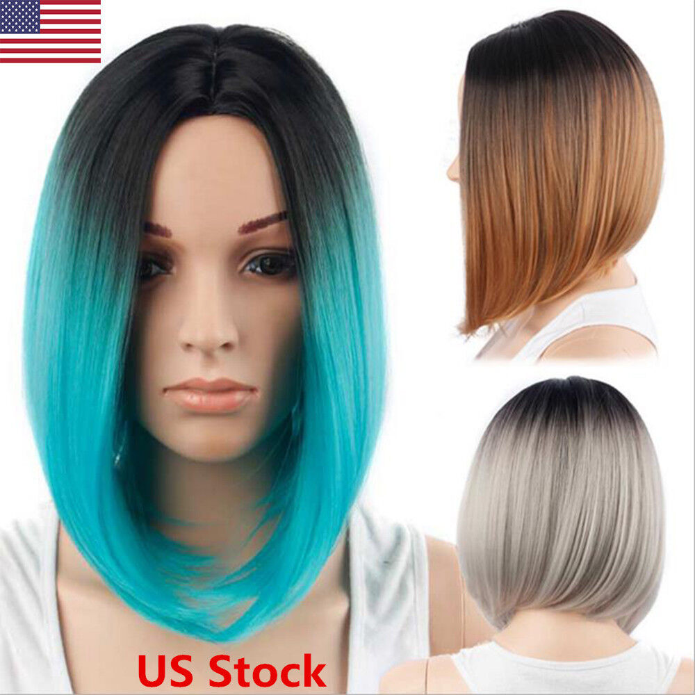 Women Straight Short Bob Wig Synthetic Lady Ombre Hair
