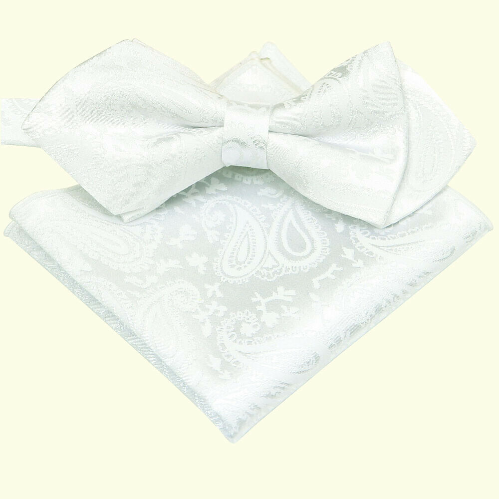 e76d12989f41 Details about Brand new White Paisley Jacquard Tuxedo Mens Bow Tie and Pocket  Square SET B1455