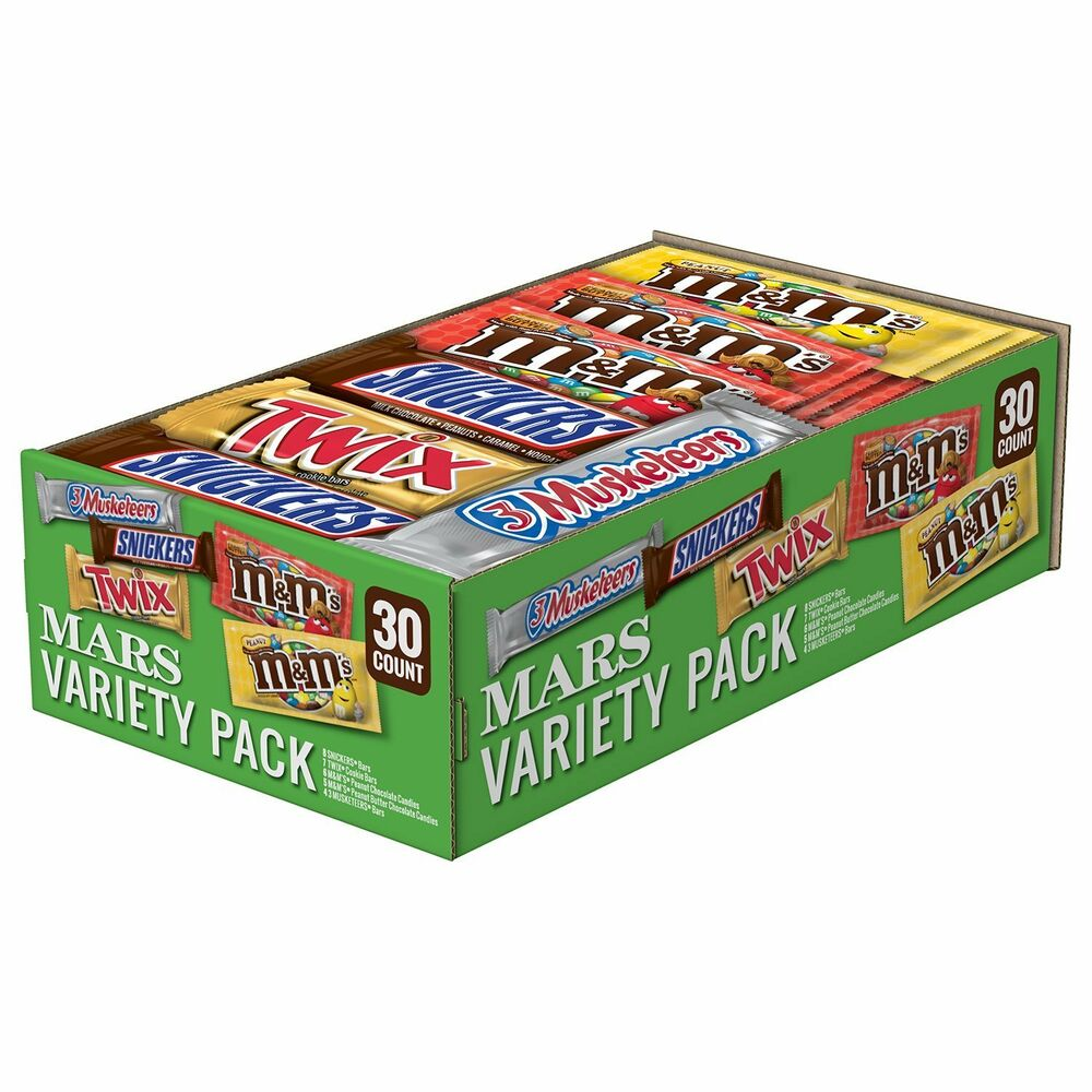 Mars Full Size Candy Bars 30 Ct Variety Pack Snickers Twix