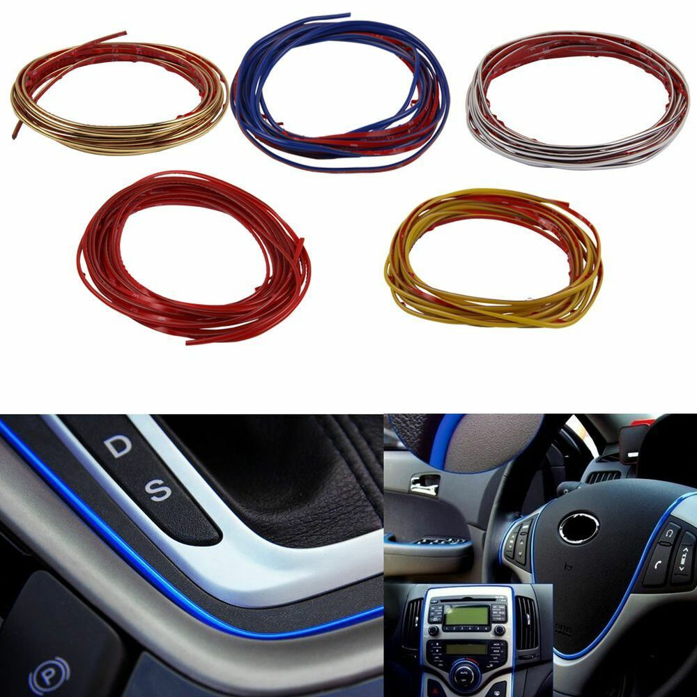 5m flexible chrome trim for car interior exterior moulding strip decorative line ebay. Black Bedroom Furniture Sets. Home Design Ideas