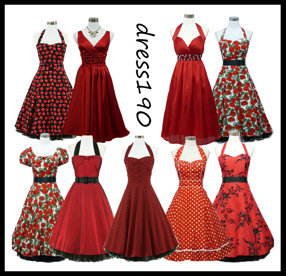 Wedding Dresses For Over 50 Uk: Dress190 Red 50s Rockabilly Pinup Party Prom Ball Gown