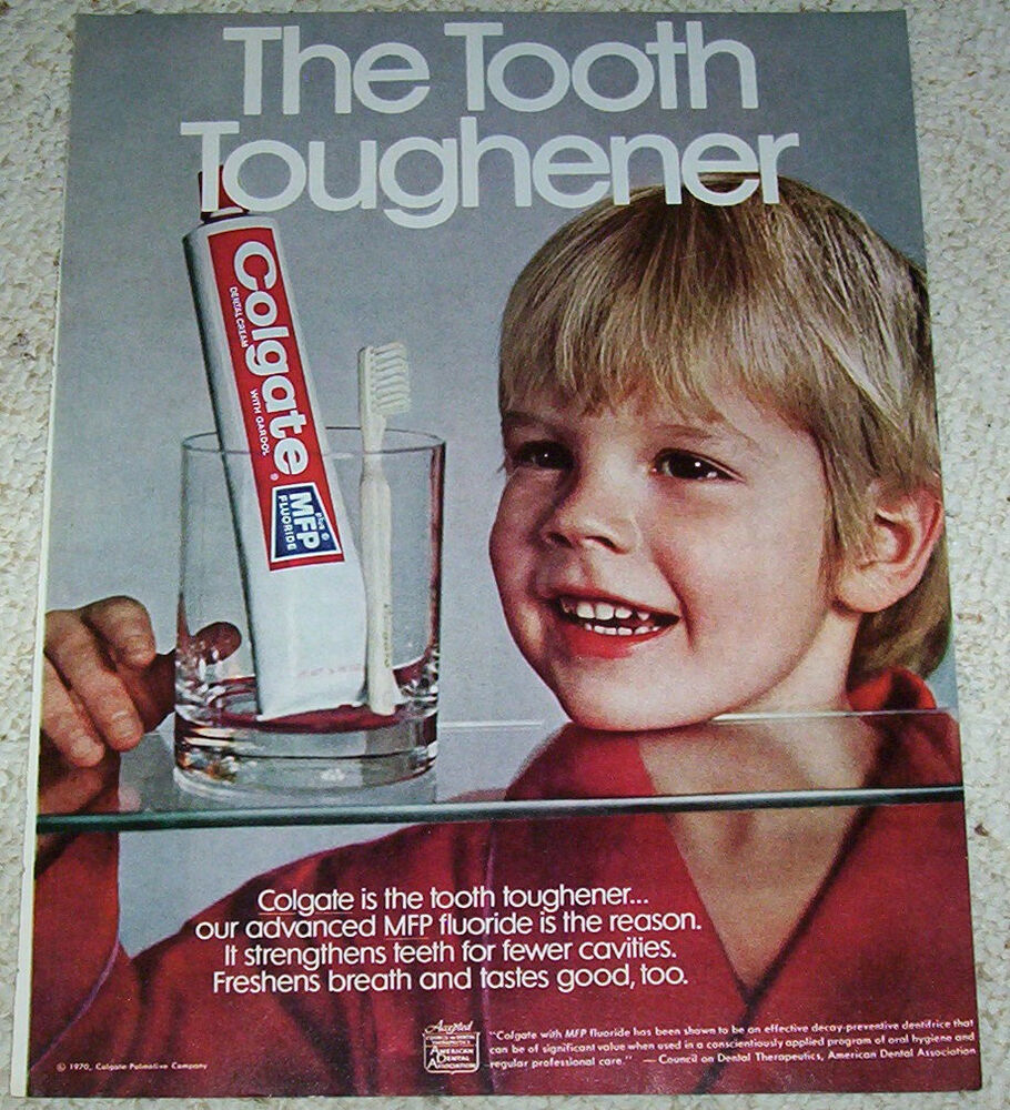 1970 ad page -Colgate Toothpaste CUTE little BOY teeth