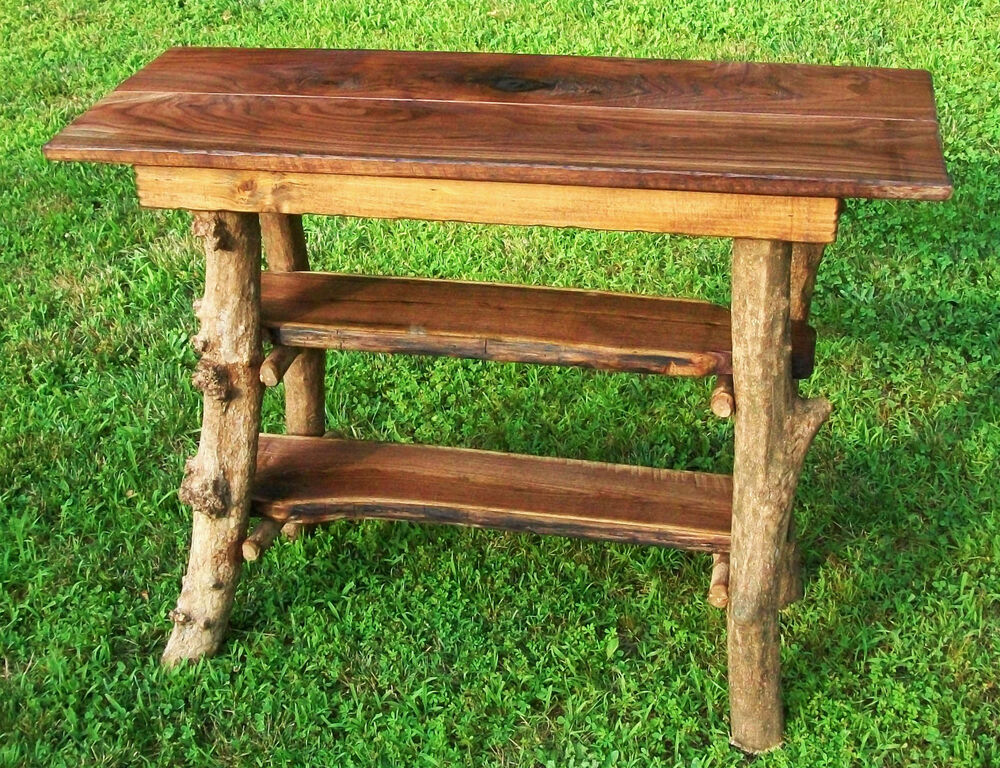 Rustic tree wood console sofa table log cabin walnut shlf