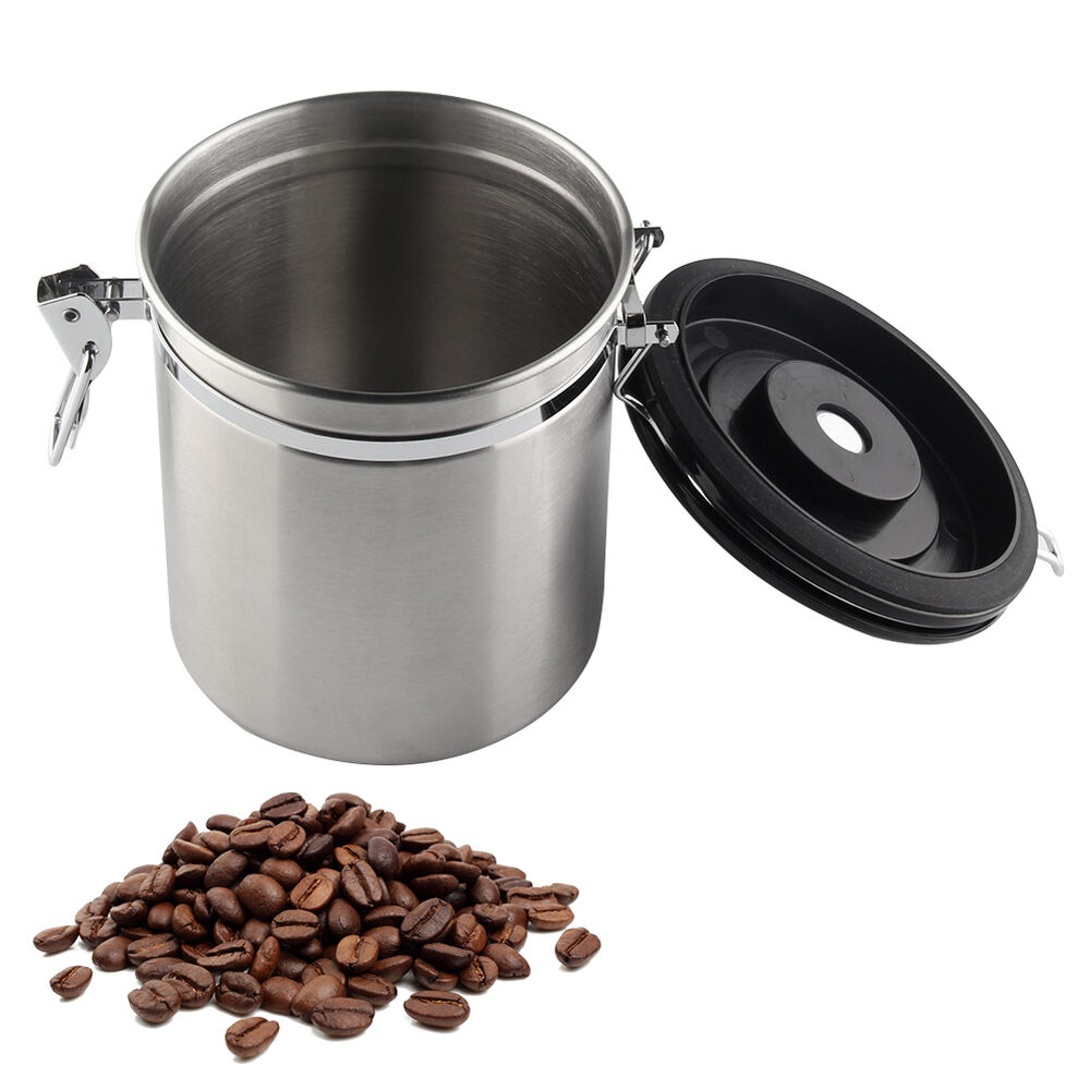 Coffee Canister Airtight Stainless Steel Vacuum Seal