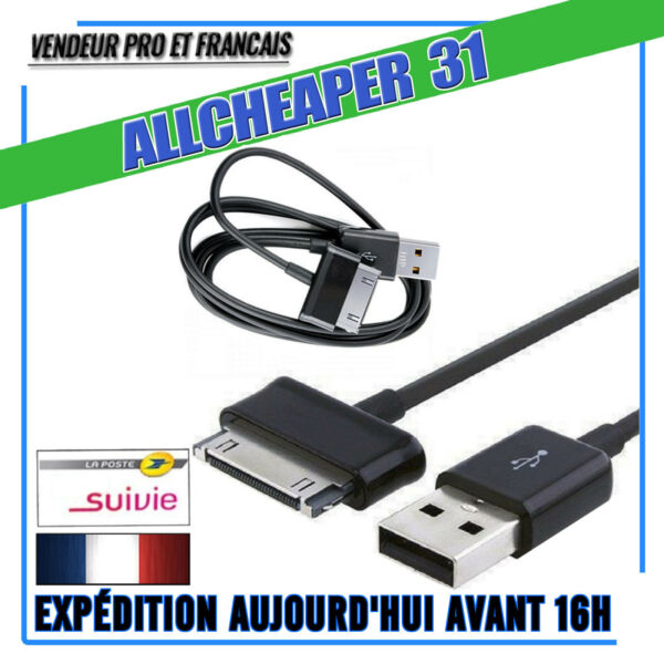 CABLE USB SAMSUNG TAB 2 7 8.9 10 POUCES P5100 P5110 NOTE 10.1 N8010 1 METRE