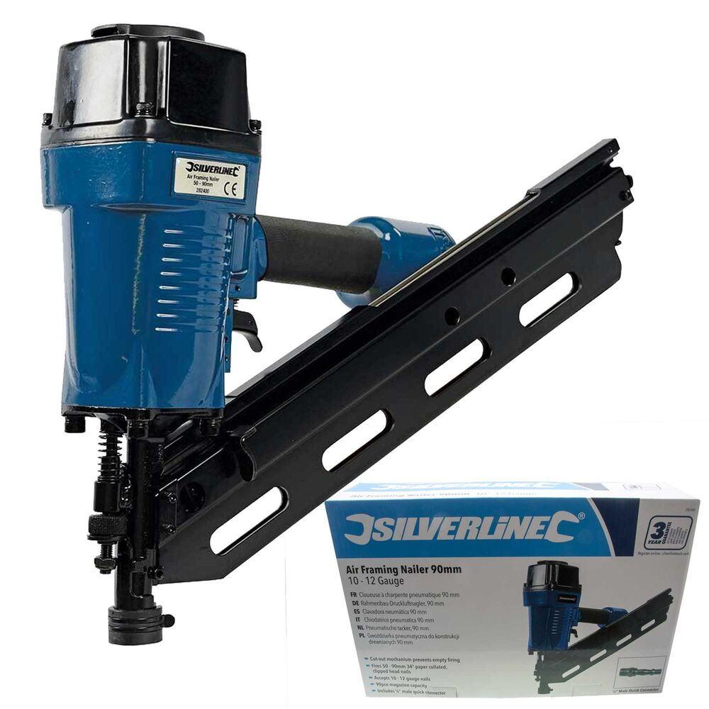 Silverline Air Framing Nailer 90mm Nail Gun For Roofing
