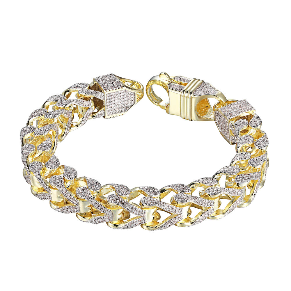 Mens Iced Out Franco Bracelet 14K Yellow Gold Tone Lab ...