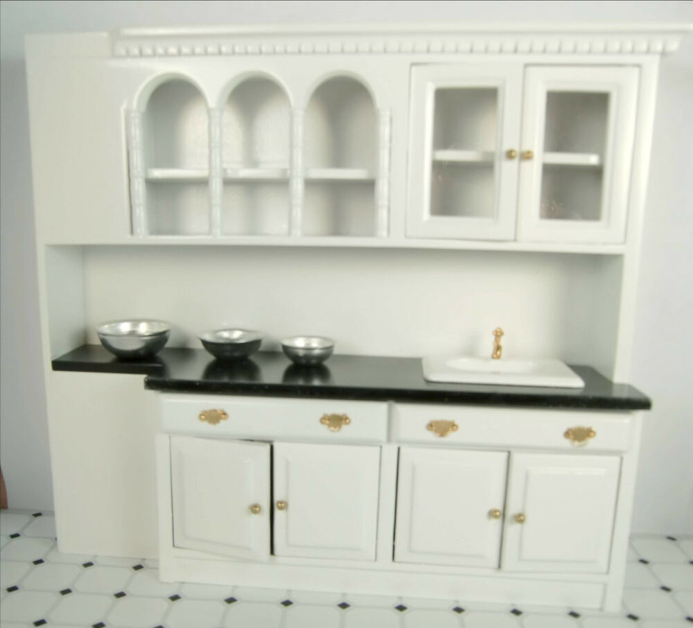 Dollhouse furniture kitchen cabinets with sink miniature for Kitchen cabinets ebay