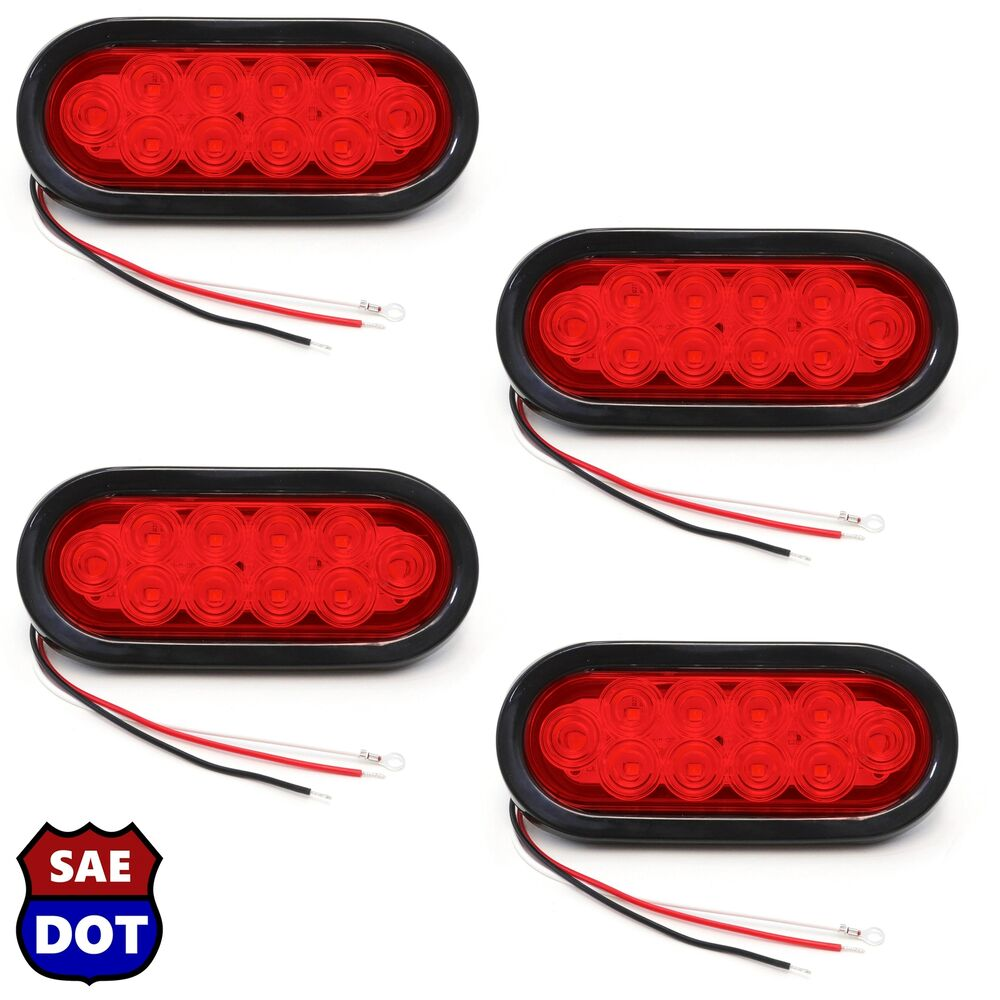 """4 Trailer Truck Lights LED Sealed RED 6"""" Oval Stop Turn"""