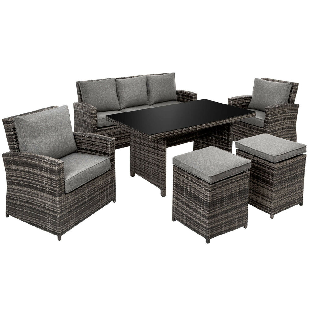 xxl luxus alu poly rattan lounge sitzgruppe gartengarnitur gartenm bel tisch ebay. Black Bedroom Furniture Sets. Home Design Ideas