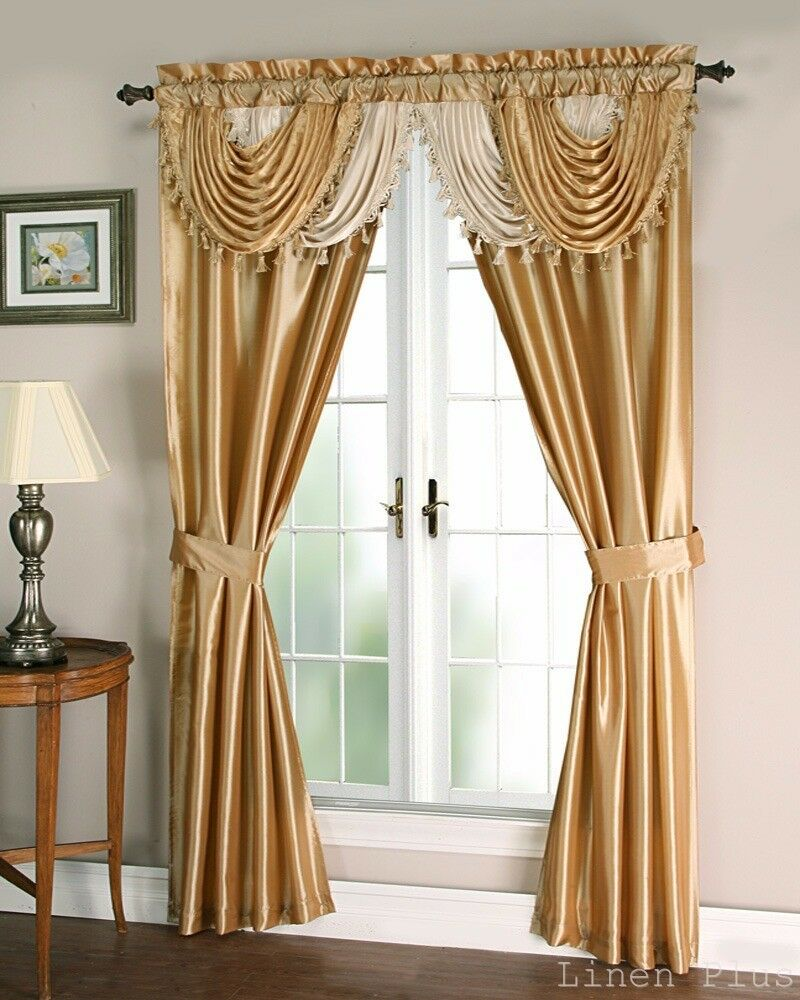 Gold Beige Satin Waterfall Window Curtain Panels Tie Back Set LinenPlus eBay