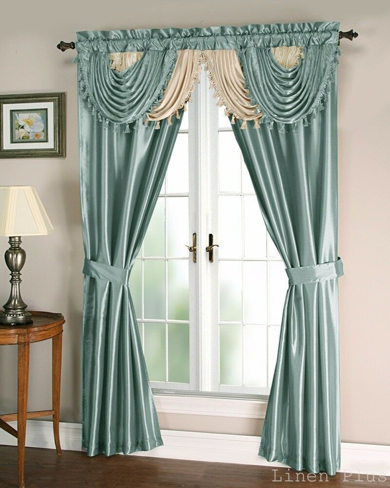 Blue Beige Satin Waterfall Window Curtain Panels Tie Back Set Linenplus Ebay
