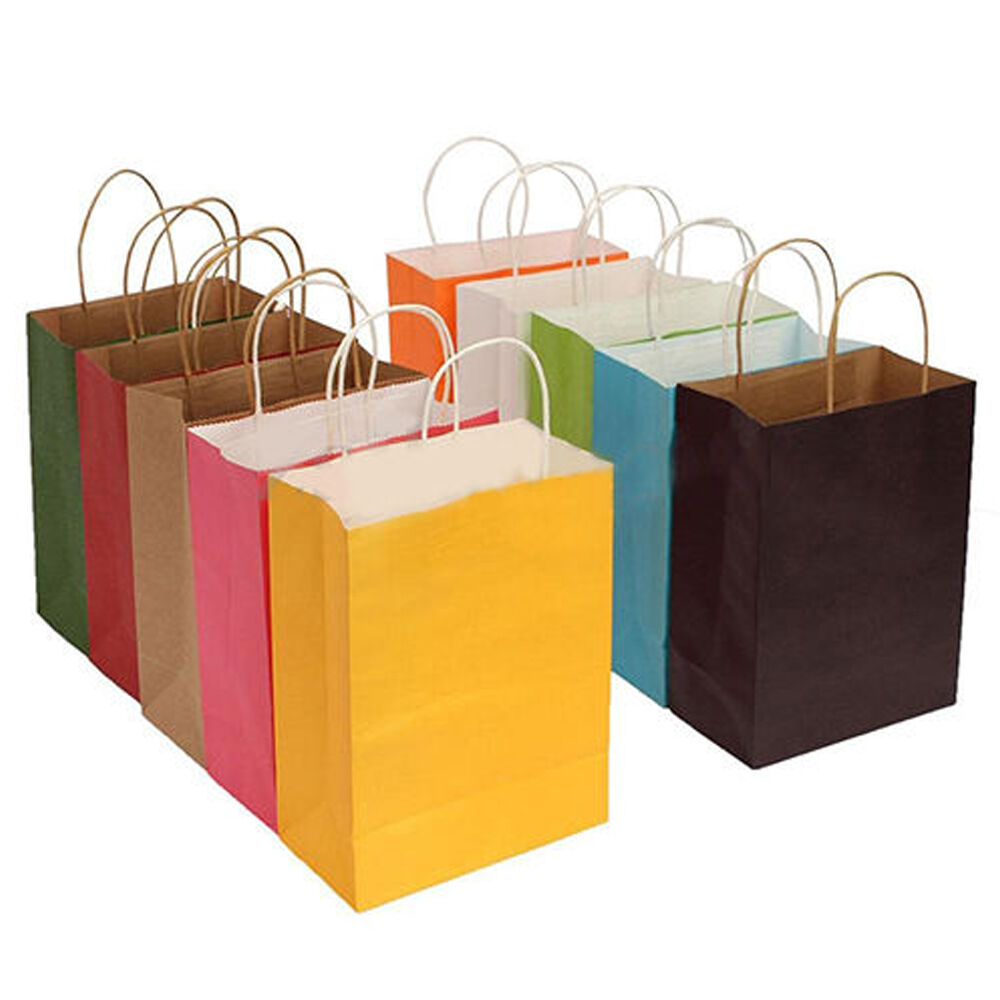 10 Colors Party Bags Kraft Paper Gift Bag With Handles