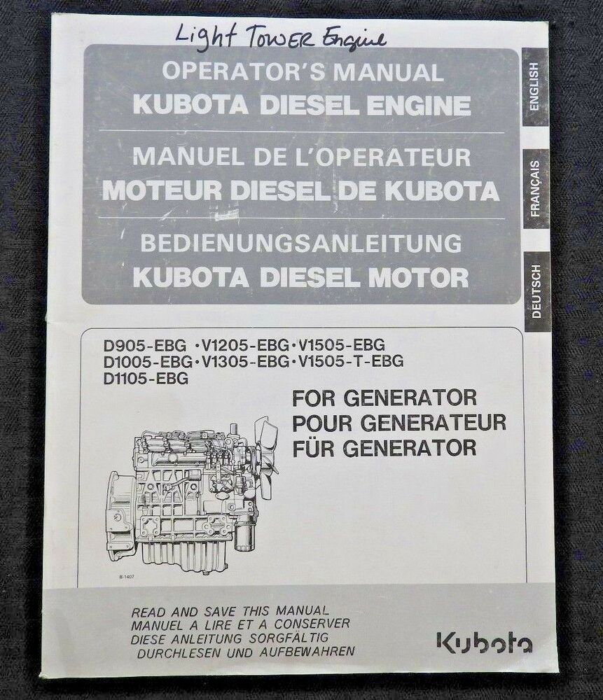 ORIGINAL KUBOTA D905 D1005 D1105 V1205 V1305 EBG DIESEL ENGINE OPERATORS  MANUAL | eBay