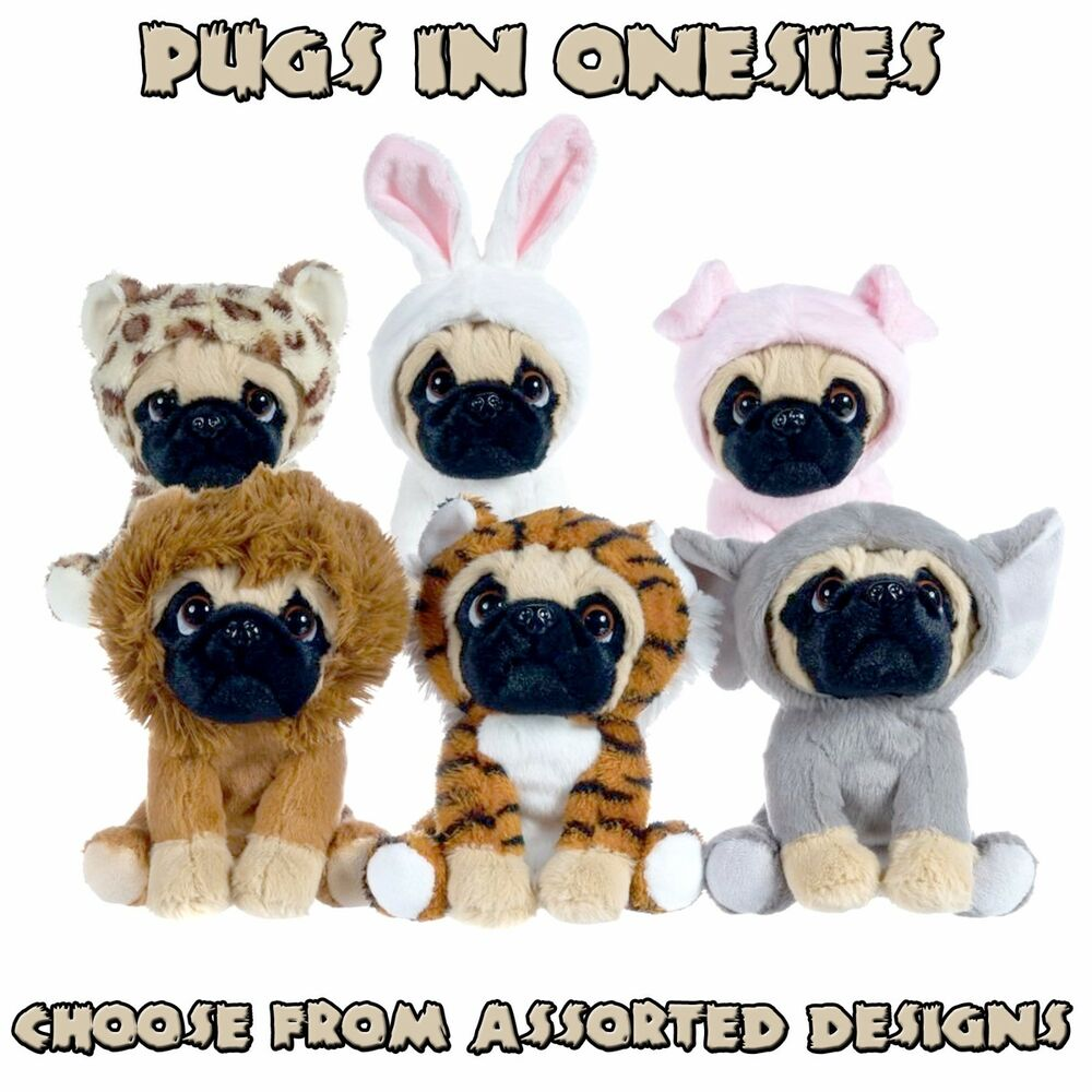 pug paws paws plush 6 5 quot pug soft toy in cute one piece costume 465