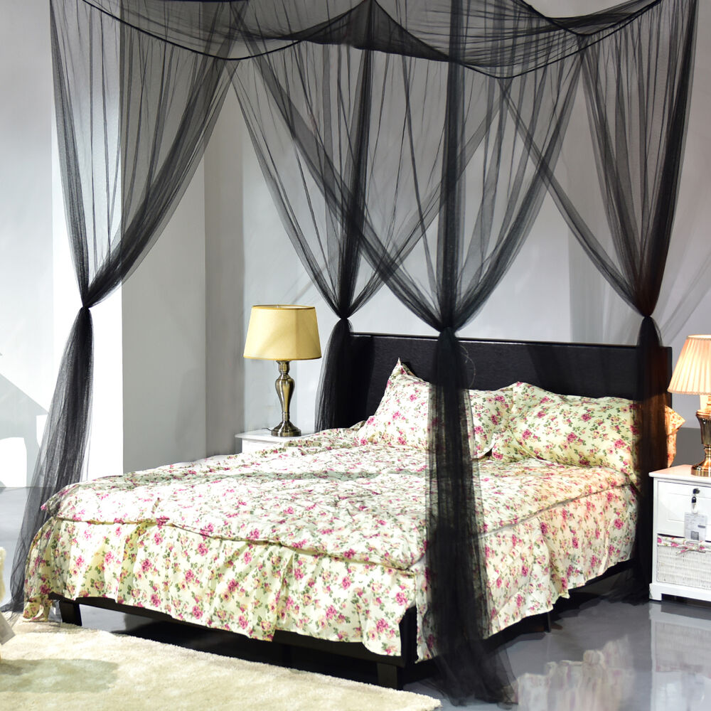 Elegant four corner canopy bed netting mosquito net full for Bed with mosquito net decoration