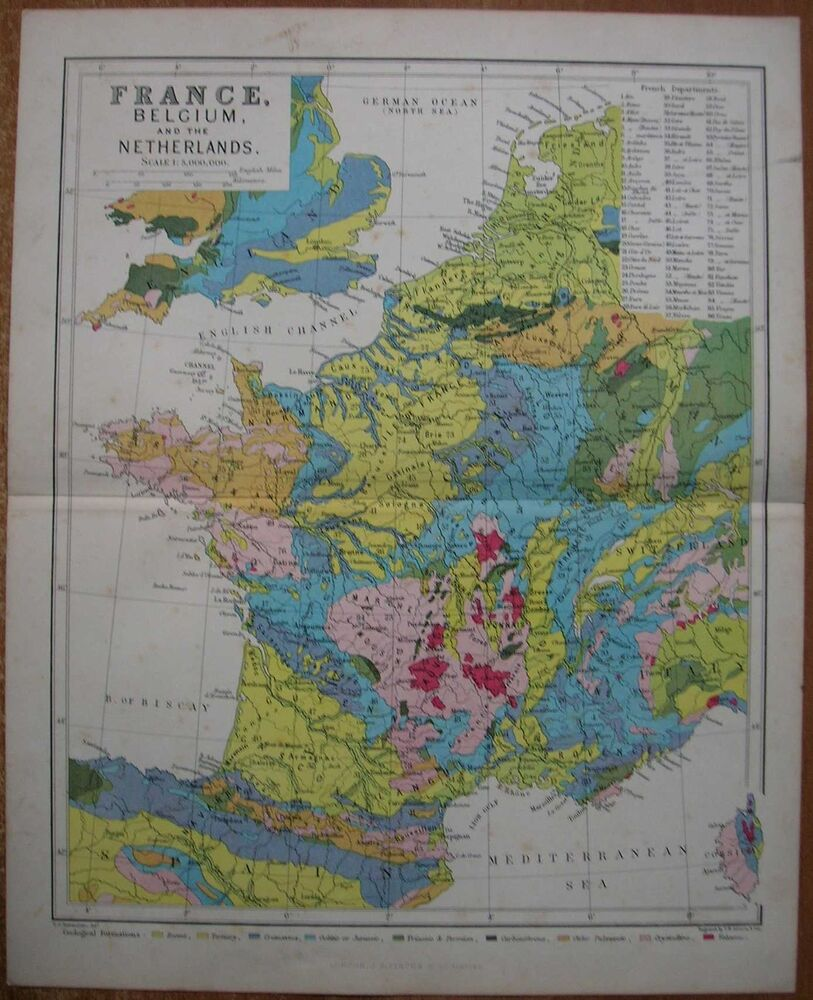 Worksheet. ca1880 Reclus map GEOLOGICAL MAP OF FRANCE BELGIUM AND