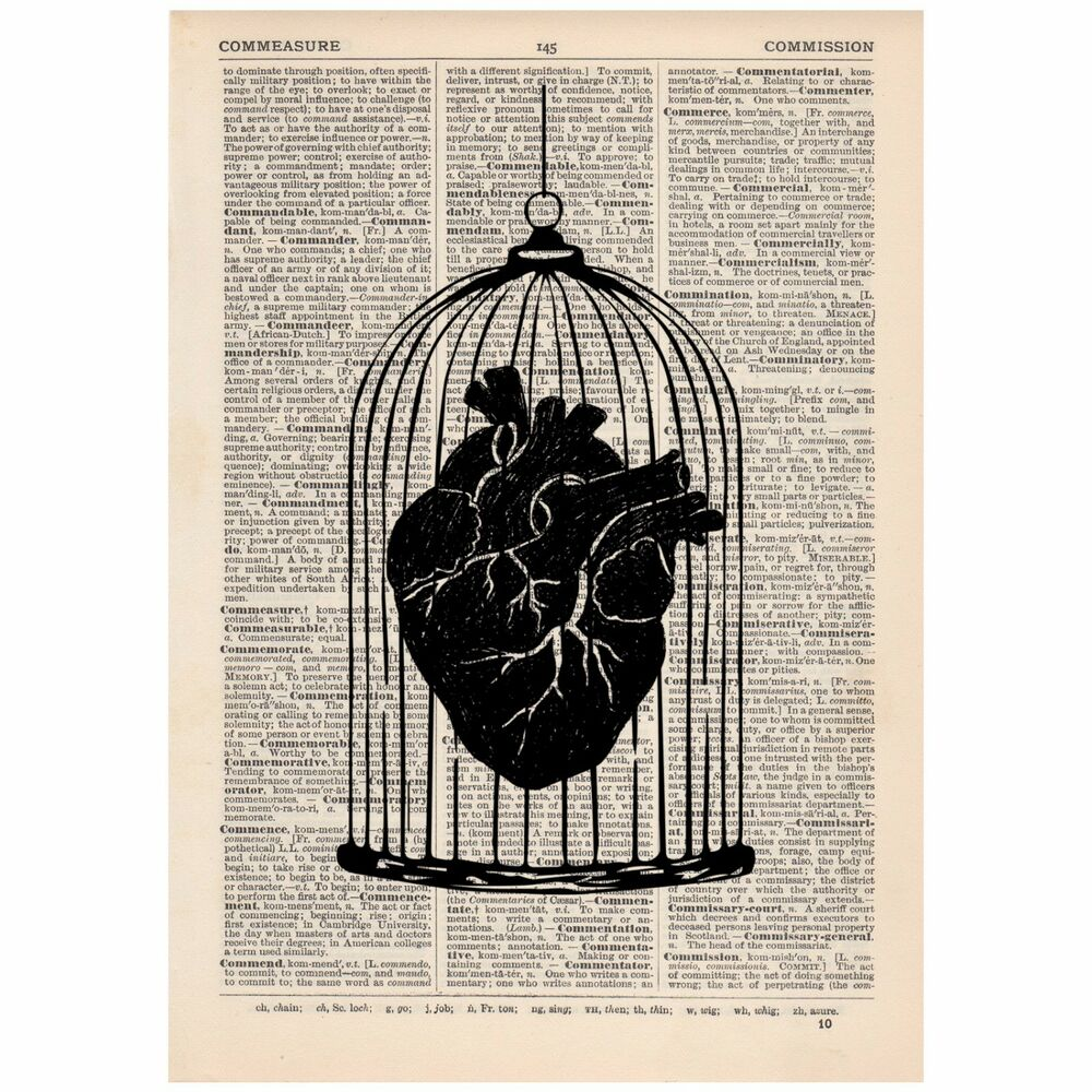 Heart In A Cage Dictionary Print Ooak Anatomy Satirical Art