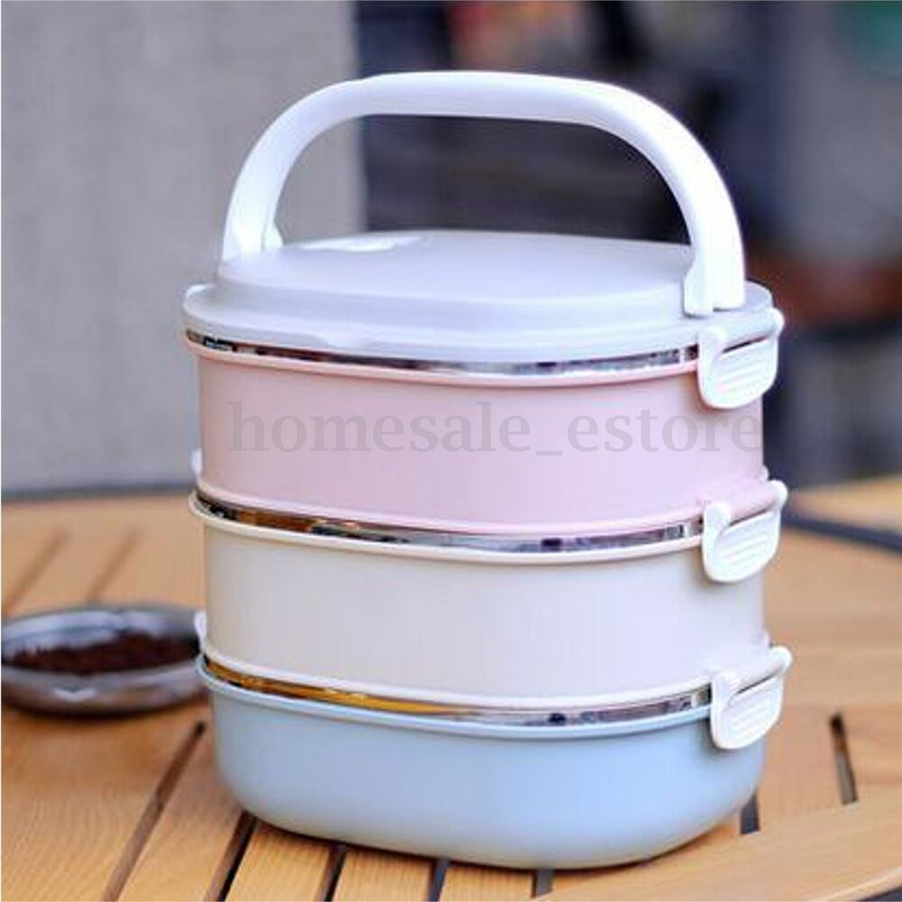 3 tier stainless steel bento lunch box portable insulated thermal food container ebay. Black Bedroom Furniture Sets. Home Design Ideas
