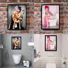 Smoking Girl Canvas Print Painting Picture Toilet Bathroom Wall Decor Unframed