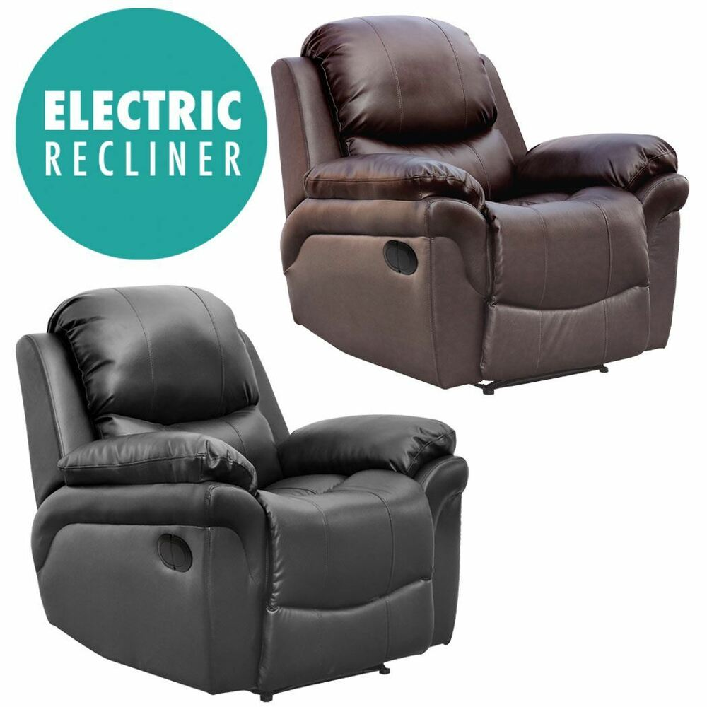 MADISON ELECTRIC LEATHER AUTO RECLINER ARMCHAIR SOFA HOME ...