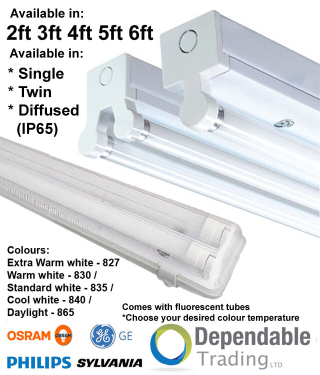 T8 Light Fixture 2ft: T8 HF Fluorescent Batten Fitting Single Twin, IP65 Non