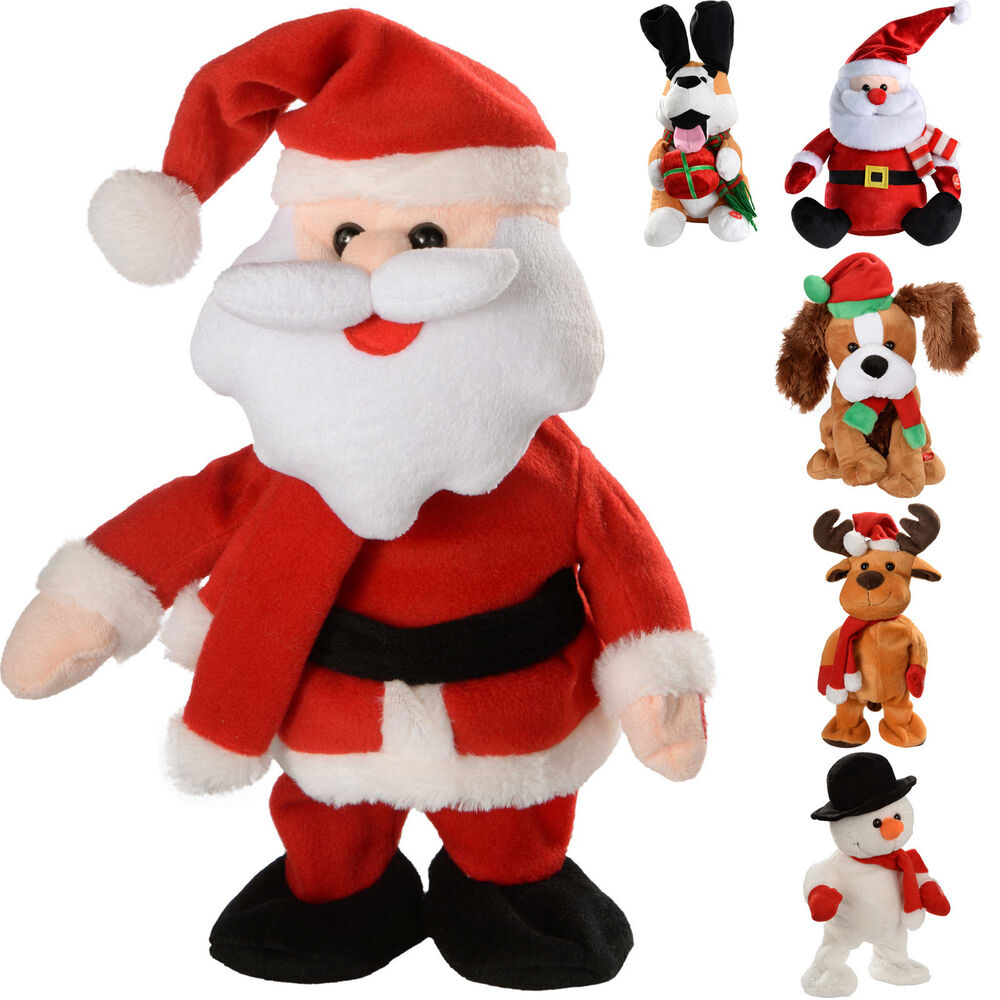 Singing Christmas Decorations: Musical Walking/ Dancing Singing Santa Snowman Reindeer