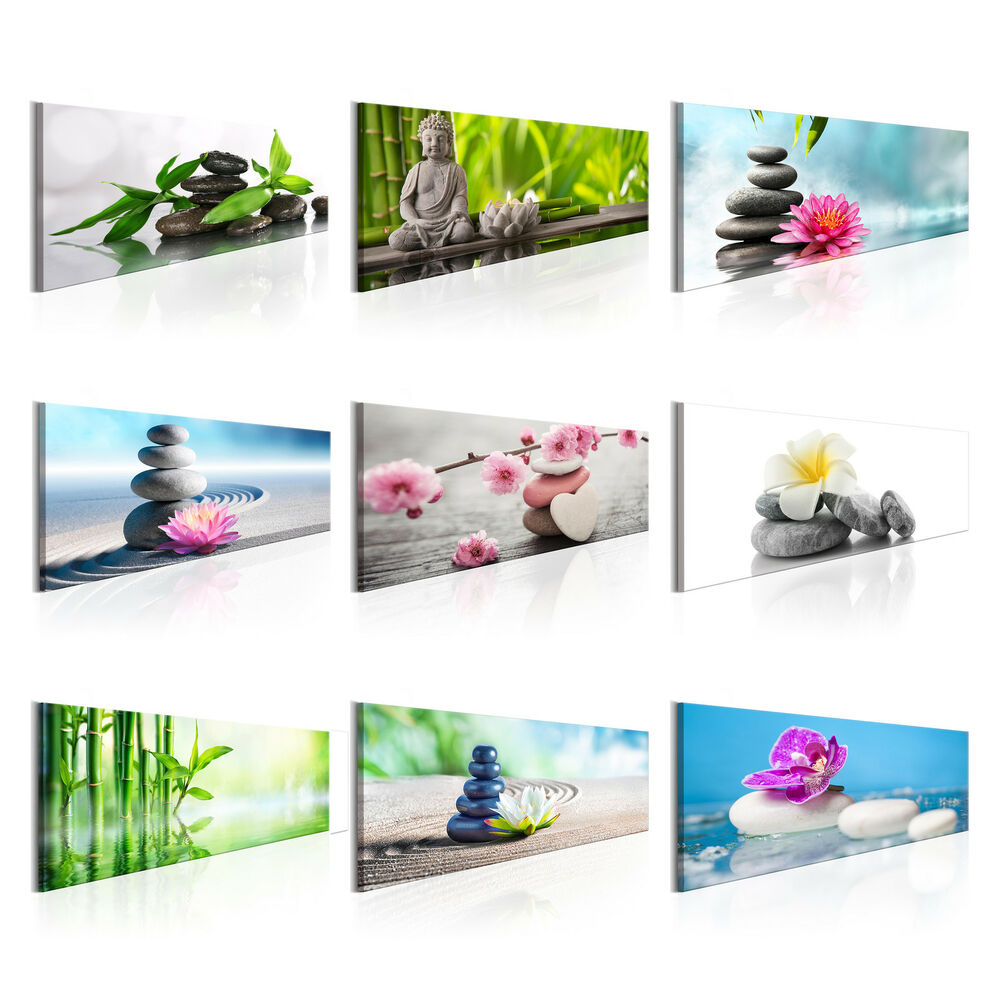 wandbilder xxl spa steine buddha zen blumen leinwand bilder xxl b b 0206 b a ebay. Black Bedroom Furniture Sets. Home Design Ideas