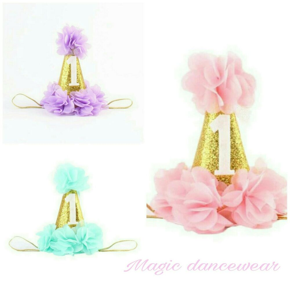 Details About Baby First 1st Birthday Hat Cake Smash Outfit Party Photoshoot Dress Girls Prop