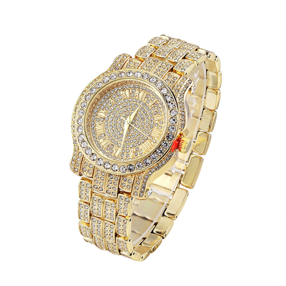 Men hip hop iced out gold tone techno pave bling rapper for Rapper watches