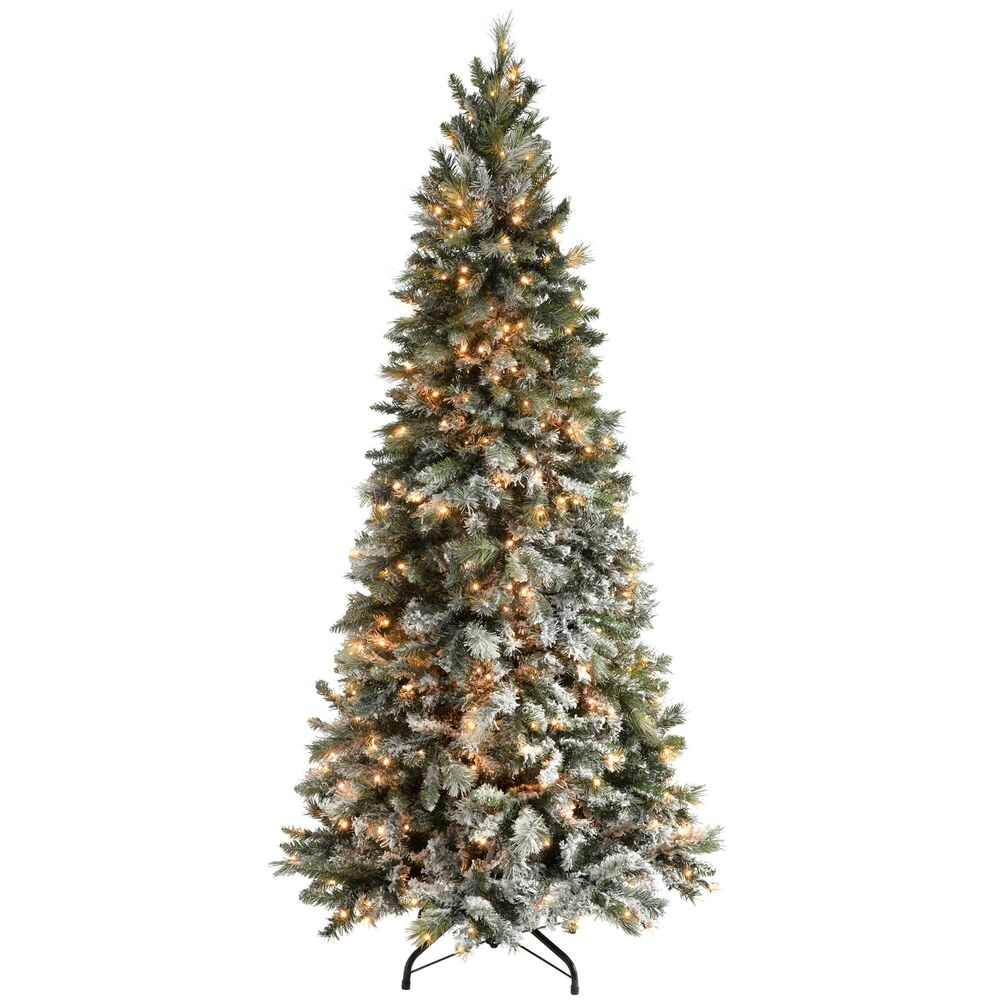 Pre-Lit Slim Snow Flocked Spruce Christmas Tree with 400 ...