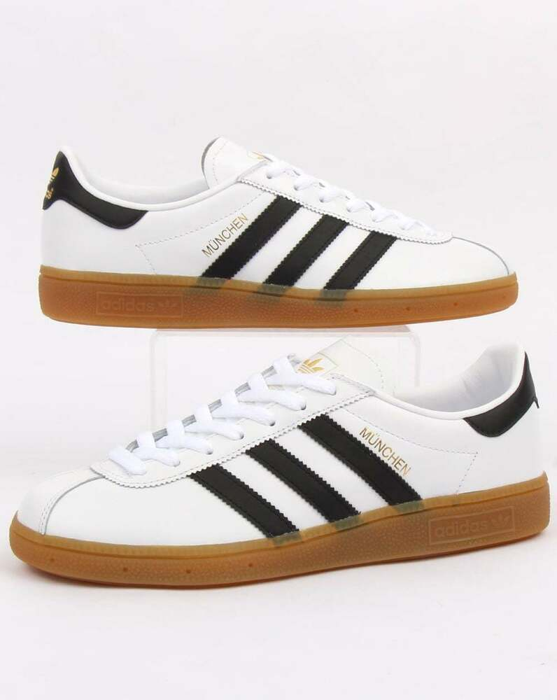 new product 96a6d d788c Details about adidas Originals - Adidas Munchen Trainers in White  Black -  leather gum