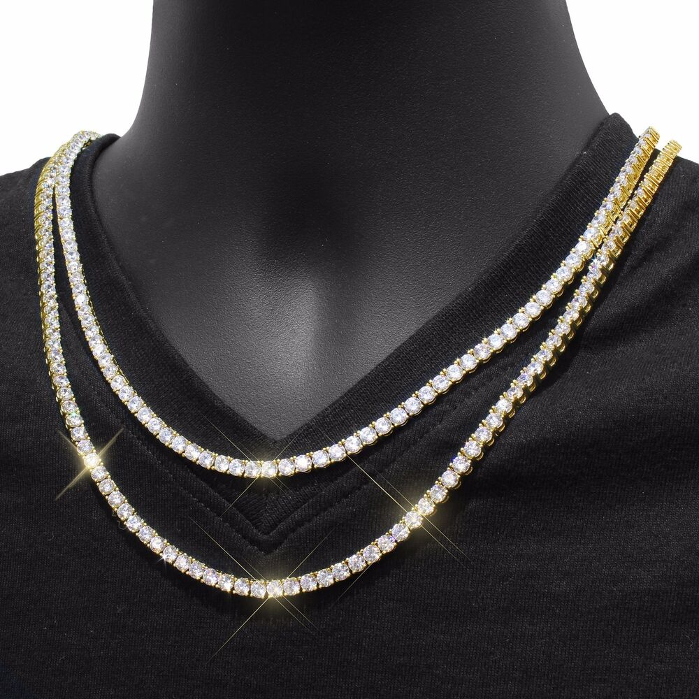 14k yellow gold finish hip hop iced out 4mm choker tennis. Black Bedroom Furniture Sets. Home Design Ideas