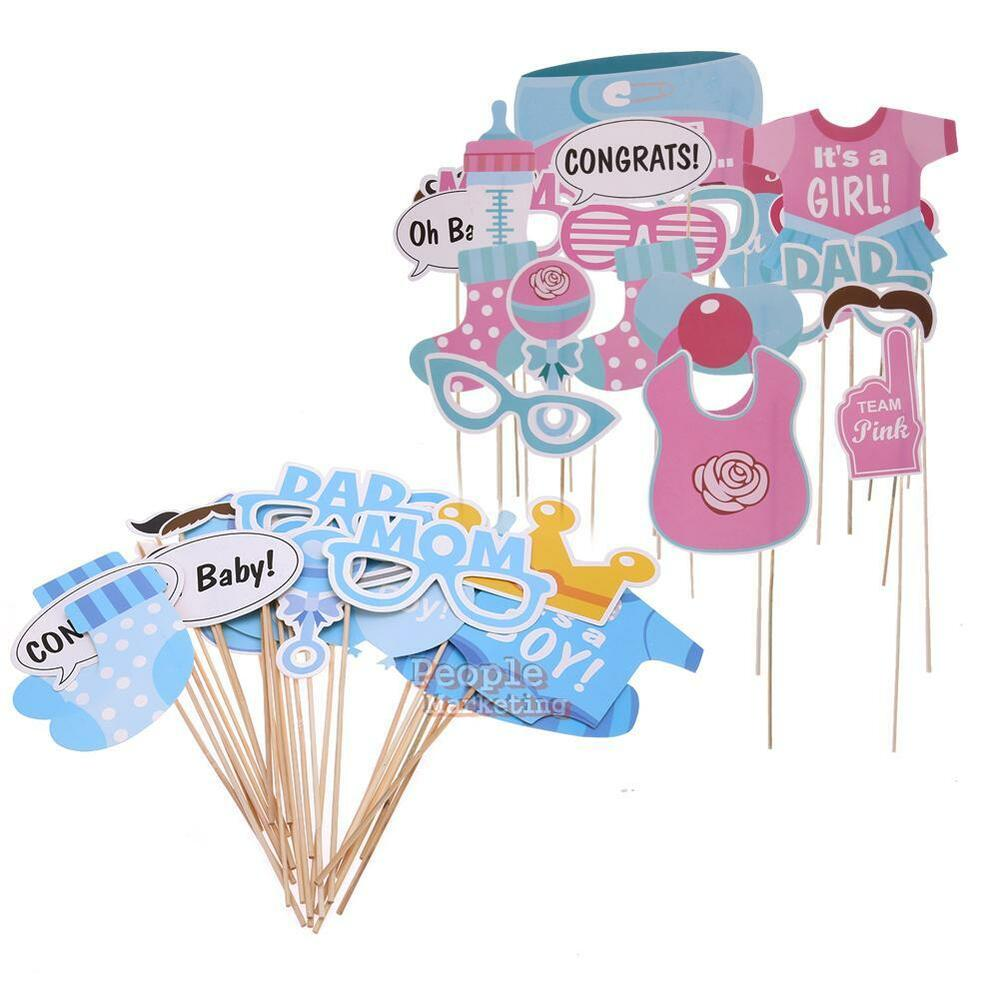 25pcs set baby shower photo booth props boy girl funny for Baby shower decoration set