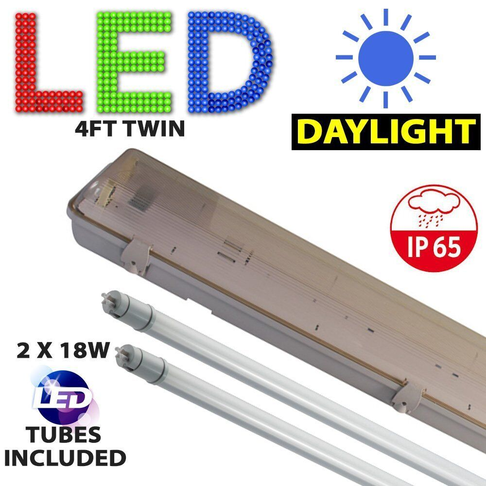 4FT TWIN LED WEATHERPROOF FLUORESCENT LIGHT STRIP FITTING
