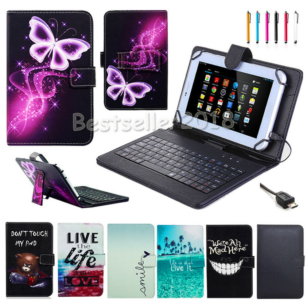 for samsung galaxy tab a a6 7 10 1 8 9 7 tablets leather keyboard case cover ebay. Black Bedroom Furniture Sets. Home Design Ideas