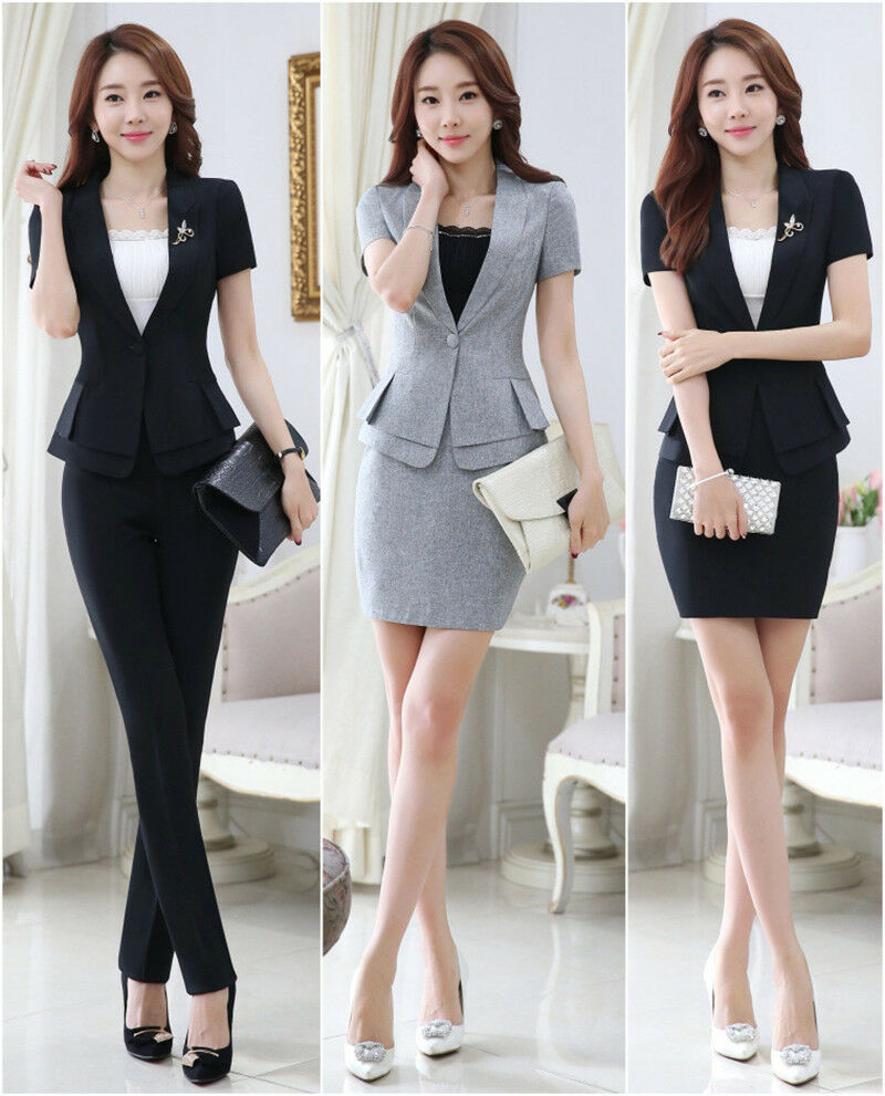 Women work wear trouser jacket OL formal blazer set office ...