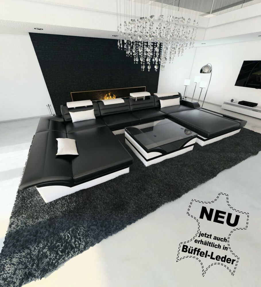 ledersofa xxl monza u form designer ledercouch mit led couch sofa schwarz weiss ebay. Black Bedroom Furniture Sets. Home Design Ideas