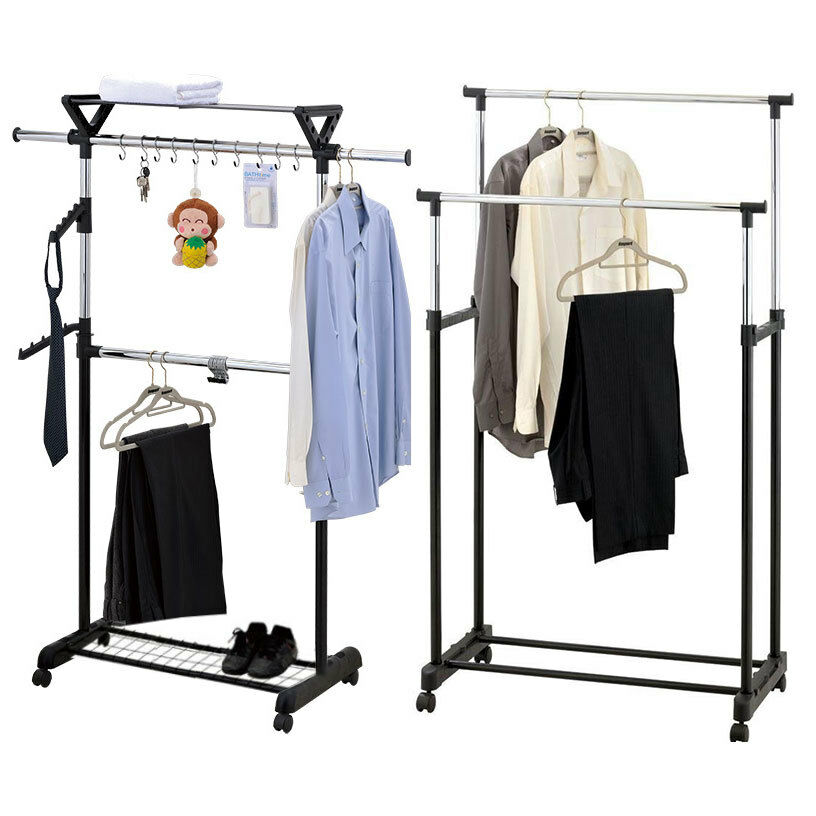 hanging clothes rack adjustable clothes coat garment hanging rail rack storage 10440