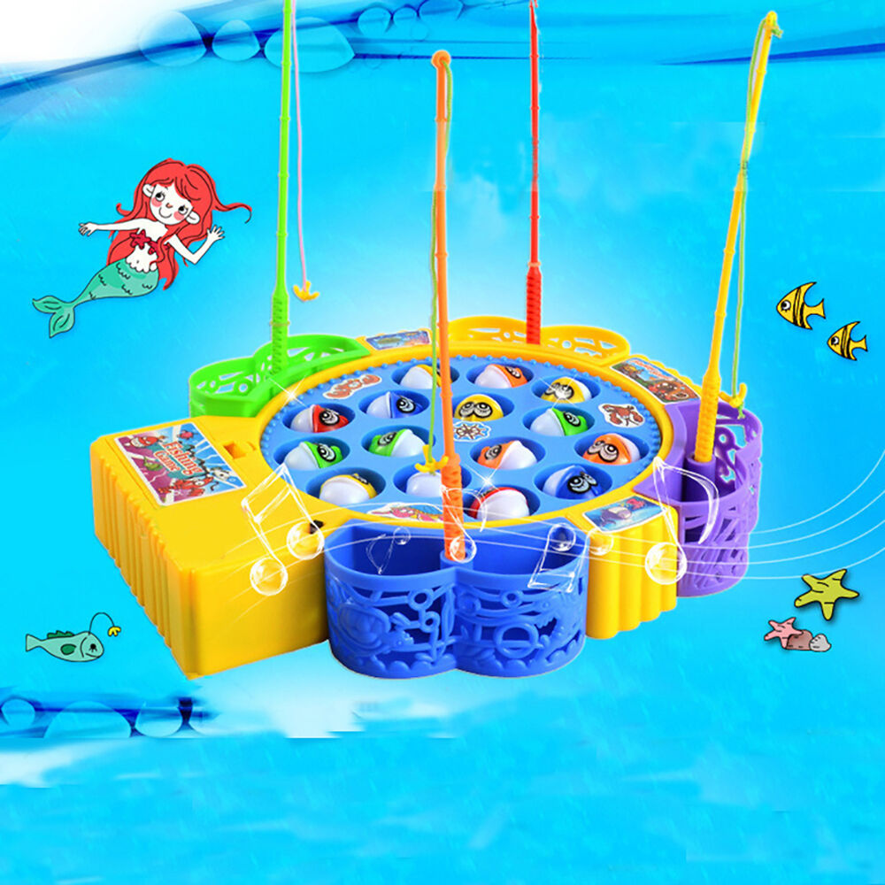 Children electric rotating fish fishing rod game kids toy for Fishing rod game