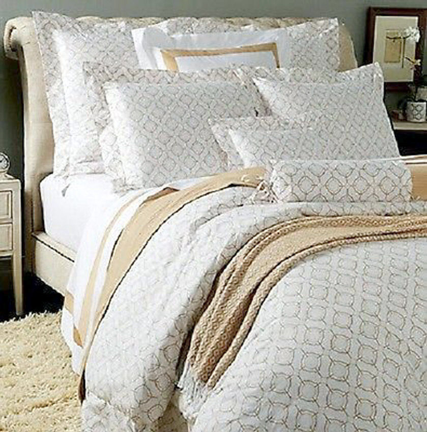 Sferra Connery Queen Duvet Cover 5 Piece White Camel