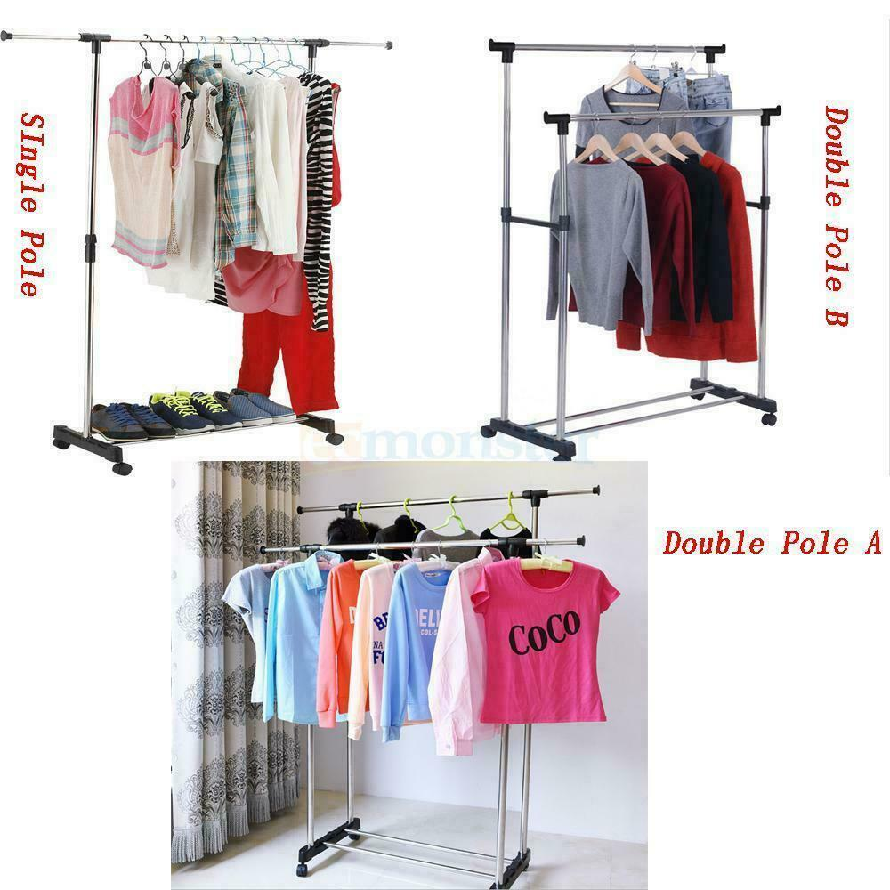 single double adjustable portable clothes hanger rolling garment rack duty rail ebay. Black Bedroom Furniture Sets. Home Design Ideas
