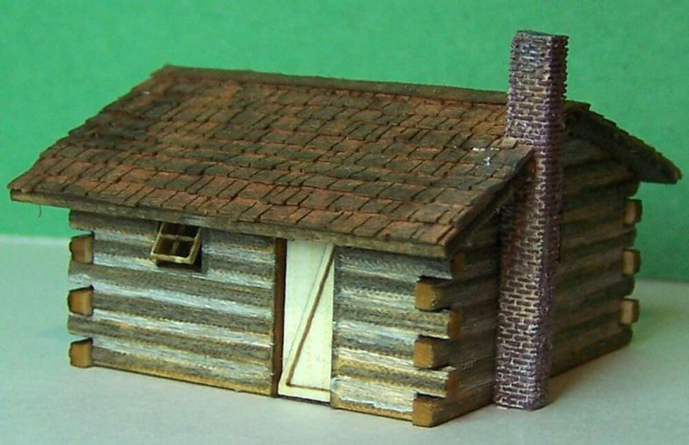 Log cabin z scale model railroad structure unptd wood for 5 structural types of log homes
