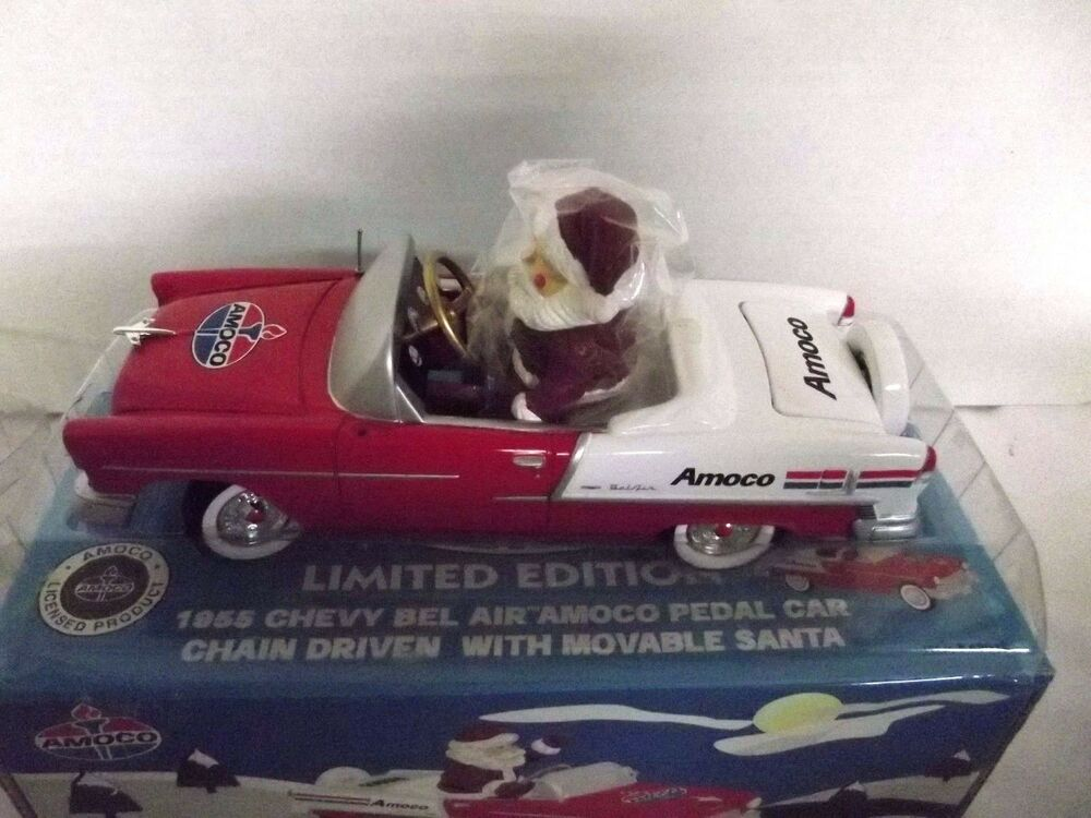 Details About Amoco 1955 Bel Air Chevy Pedal Car Bank Santa Driver Clearbox Collectible