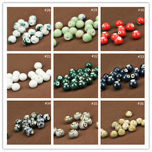 10/12mm Retro Ceramic Beads Porcelain Loose Spacer  Bead Craft Findings 40Colors