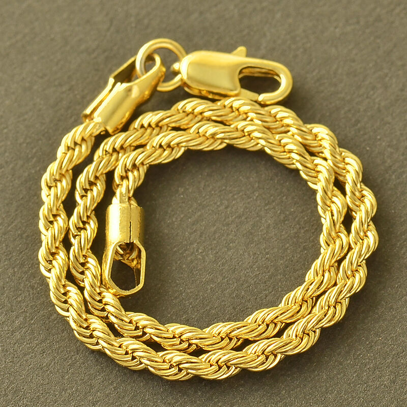 Chain Bracelet Womens: Yellow Gold Plated Womens Mens Fashion Twisted Rope Chain