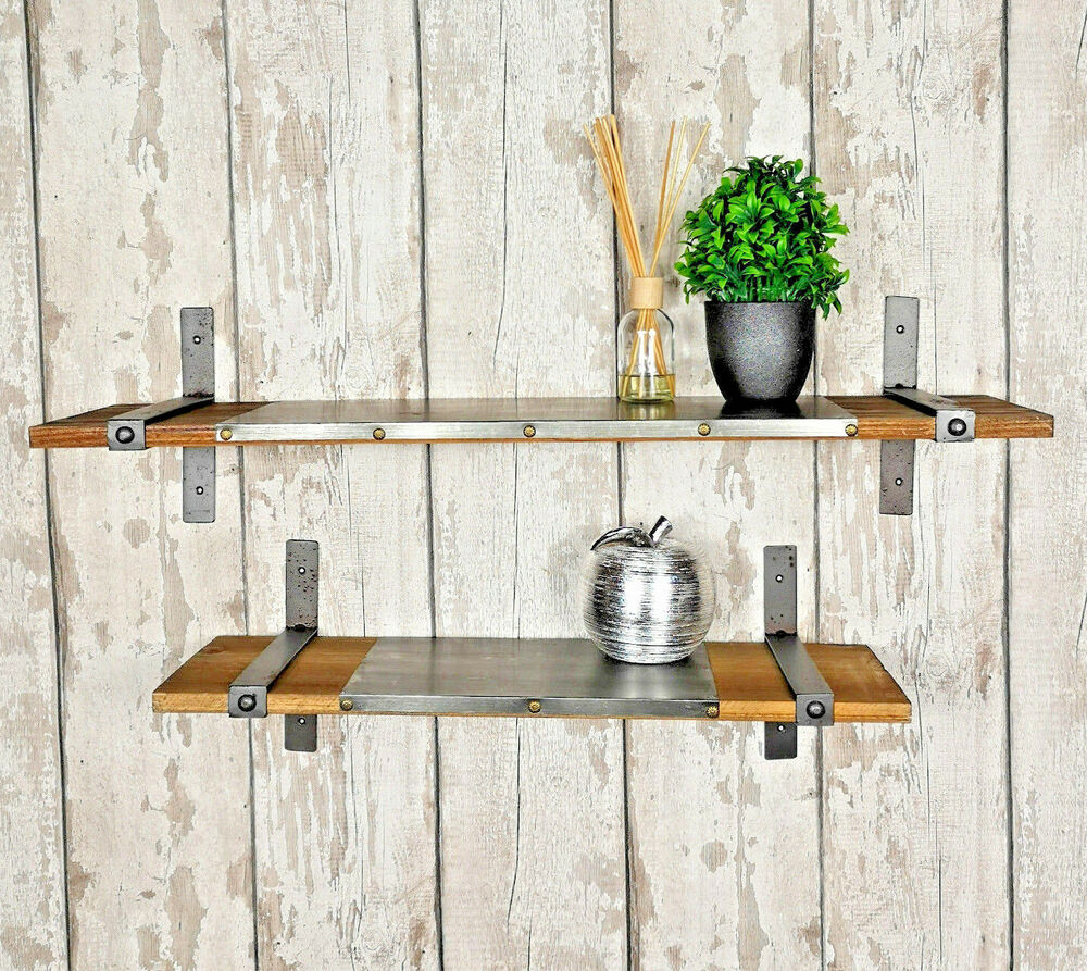 set of 2 industrial shelves vintage rustic floating wall mounted rh ebay co uk Industrial Style Wall Shelves Industrial Style Wall Shelves