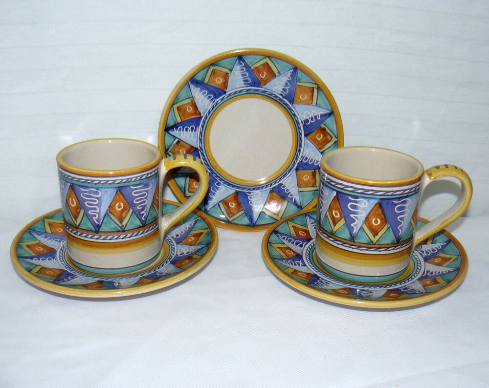 Starbucks Set Cup Amp Saucers 3 Plates Amp 2 10 Oz Coffee Mugs